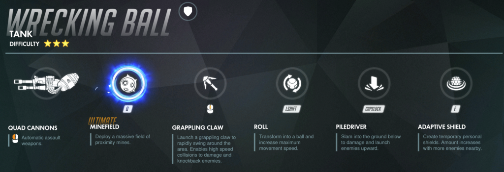 Abilities for Overwatch Hero Wrecking Ball