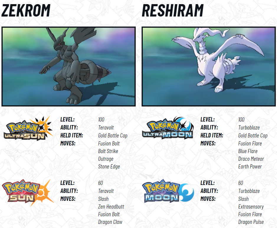 Zekrom and Reshiram in Pokemon Ultra Sun and Moon Stats