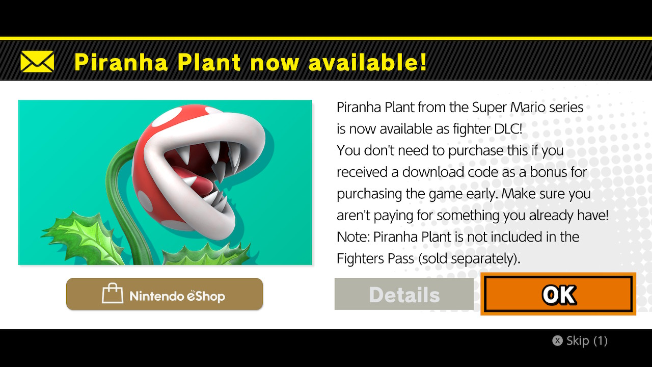 Piranha Plant DLC Cost & How To Buy in Smash Bros Ultimate