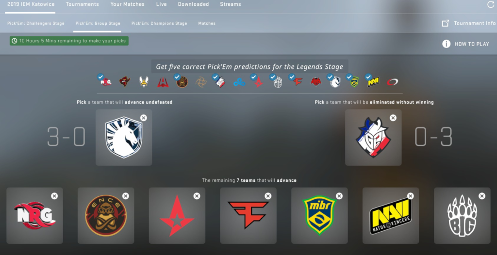 IEM Katowice Pick'Em Predictions - Legends Stage